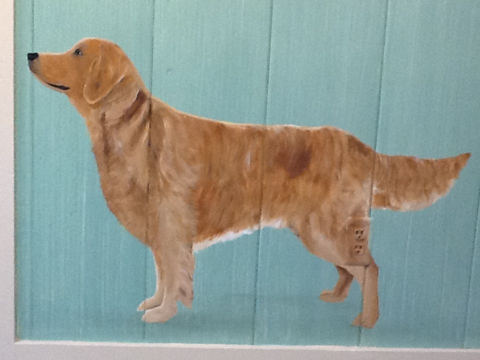 Life size Golden hand painted mural for a groomer Www.custompaintingbydi.com Diane McCarthy