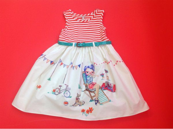 Next Girls Red And White Stripe Scene Prom Dress Camper Age 3 years ...