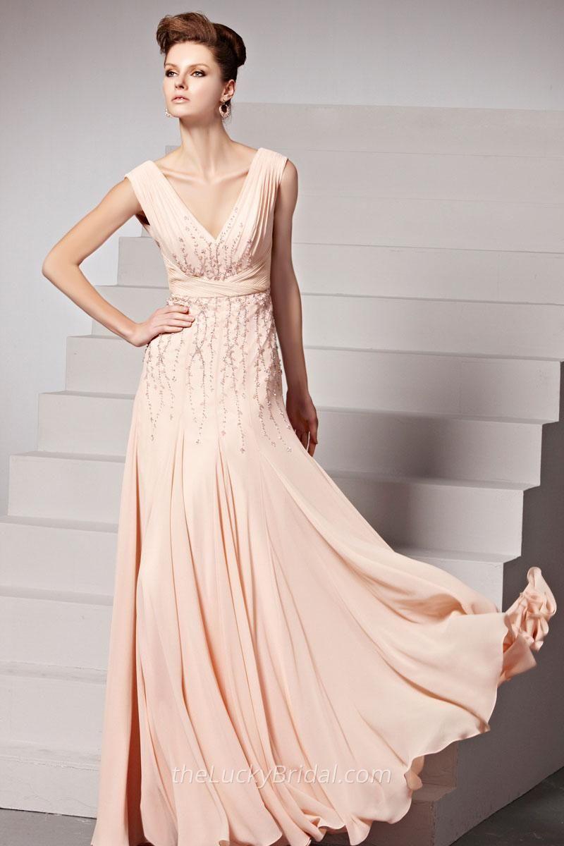 Pale pink chiffon plunging vneck sleeveless long evening dress