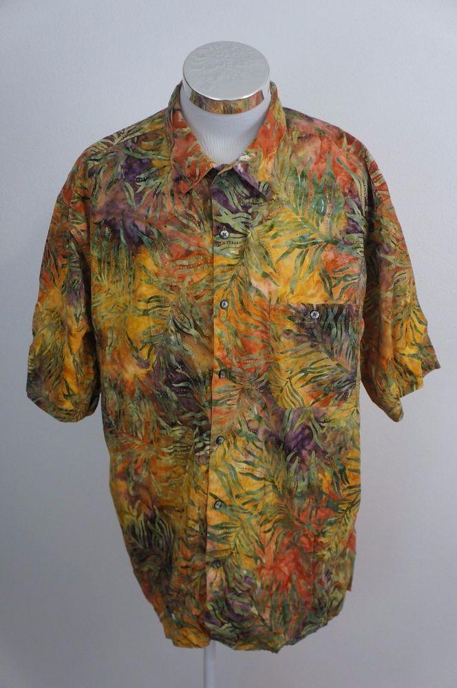 c68460e4f2e3 The Territory Ahead Leaf Floral Hawaiian Button Front Shirt Size 2XL XXL   TheTerritiryAhead  Hawaiian