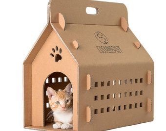 Karton Haus, Puppenhaus, Transportbox, Transportbox, Katzenhaus Haustier,  Katze Transport,