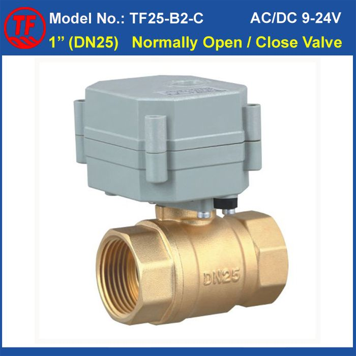 Tf25 B2 C Ac Dc9 24v 1 Brass Full Port 2 Way Normally Close Open Motorized Valve 2 Control Wires Capacitors Power Off Return Af Capacitors Valve Metal Gear