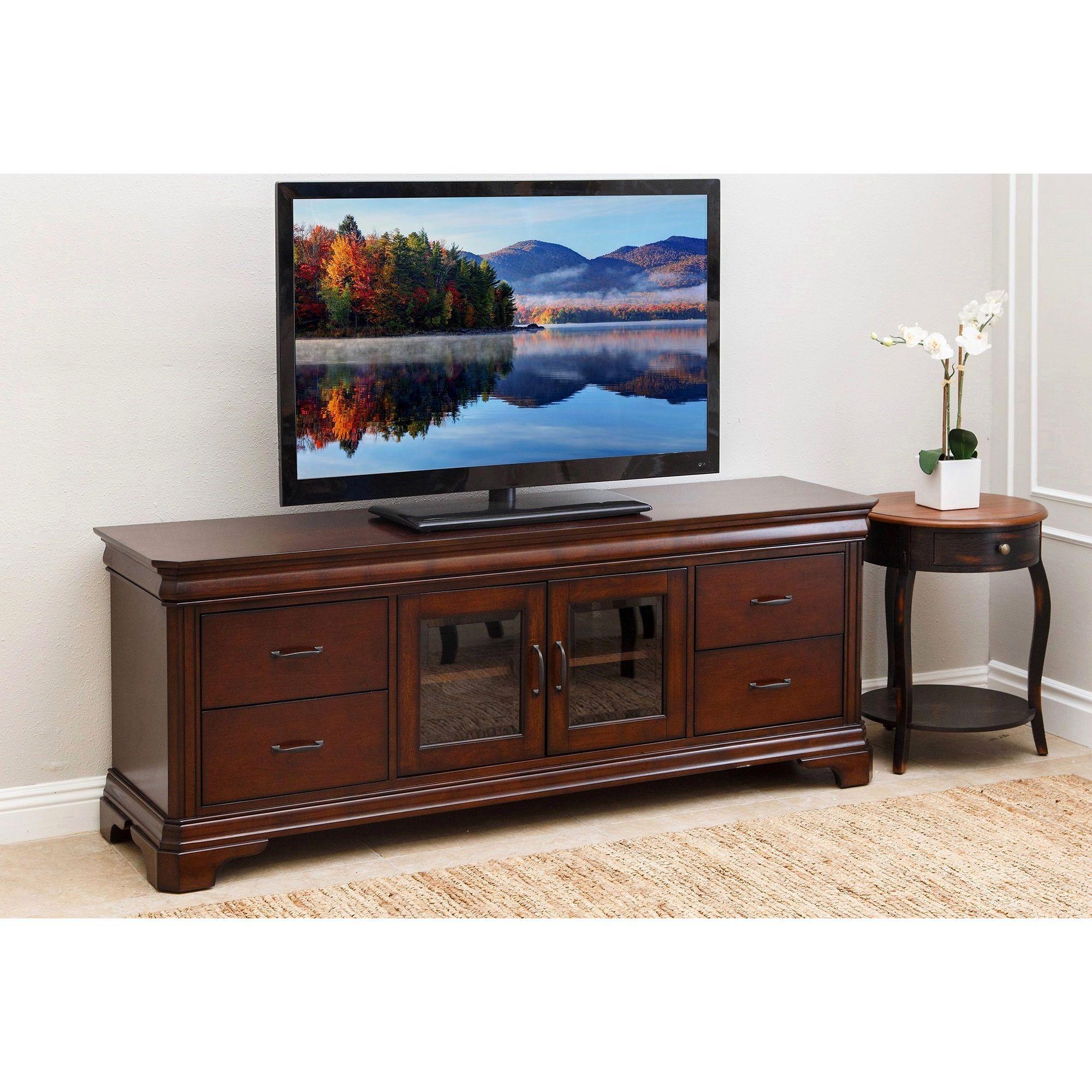Abbyson Living Wildwood 72 Wood Tv Console Cherry Furniture