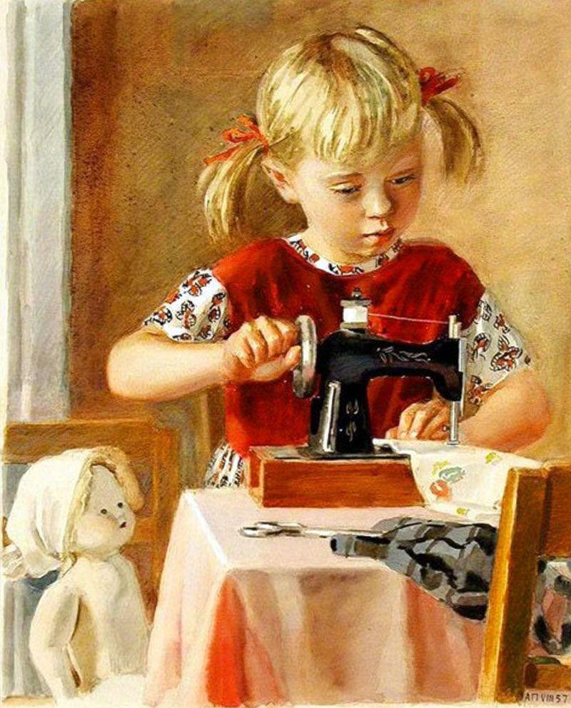 Девочка вышивает картинки для детей