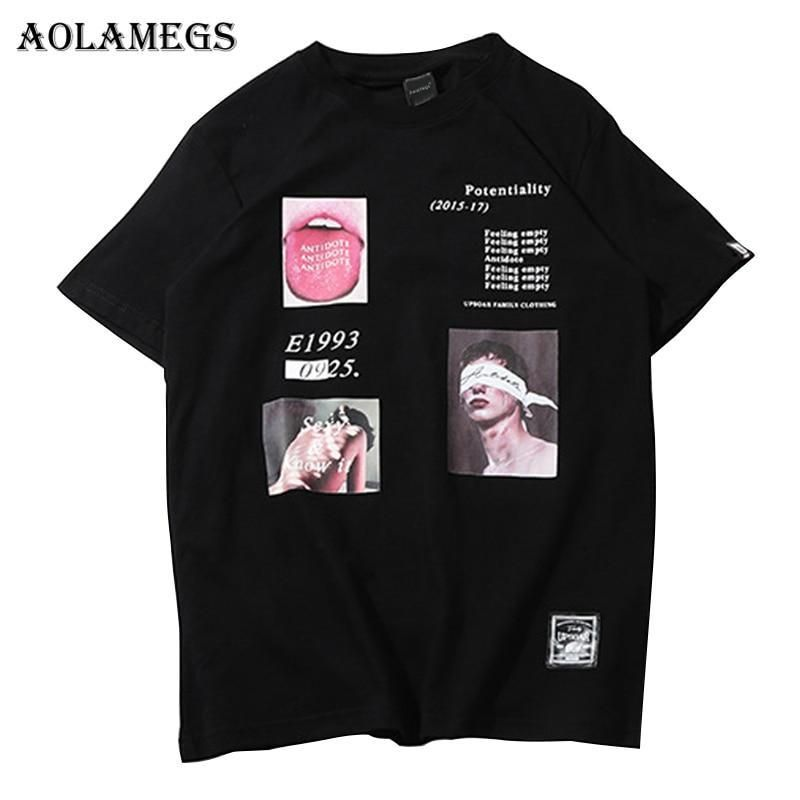 44dd5614a Aolamegs T Shirt Men Funny Picture Print Men's Tee Shirts O-neck T Shirt  Cotton Fashion High Street Couple Tees Streetwear. July 2019