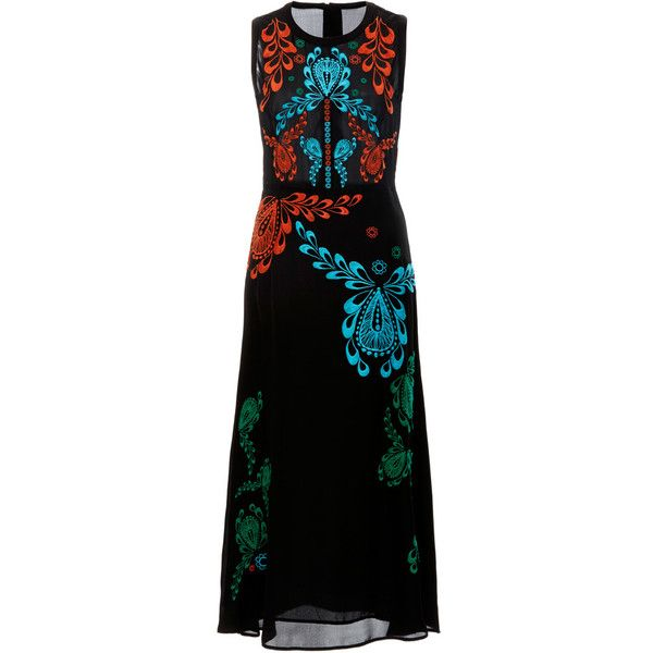 Cynthia Rowley Sleeveless Embroidered Georgette Dress (14 730 UAH) ❤ liked on Polyvore featuring dresses, floral embroidered dress, mid calf dresses, no sleeve dress, sleeveless midi dress and midi dress