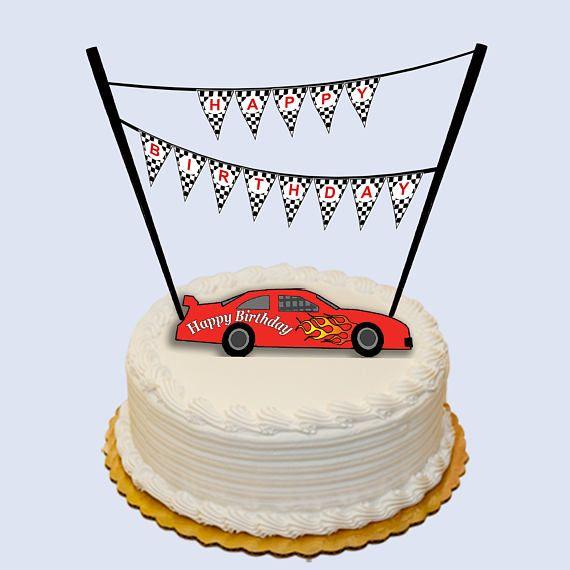 Race car cake topper. 6in x 3.5in Printable download ...