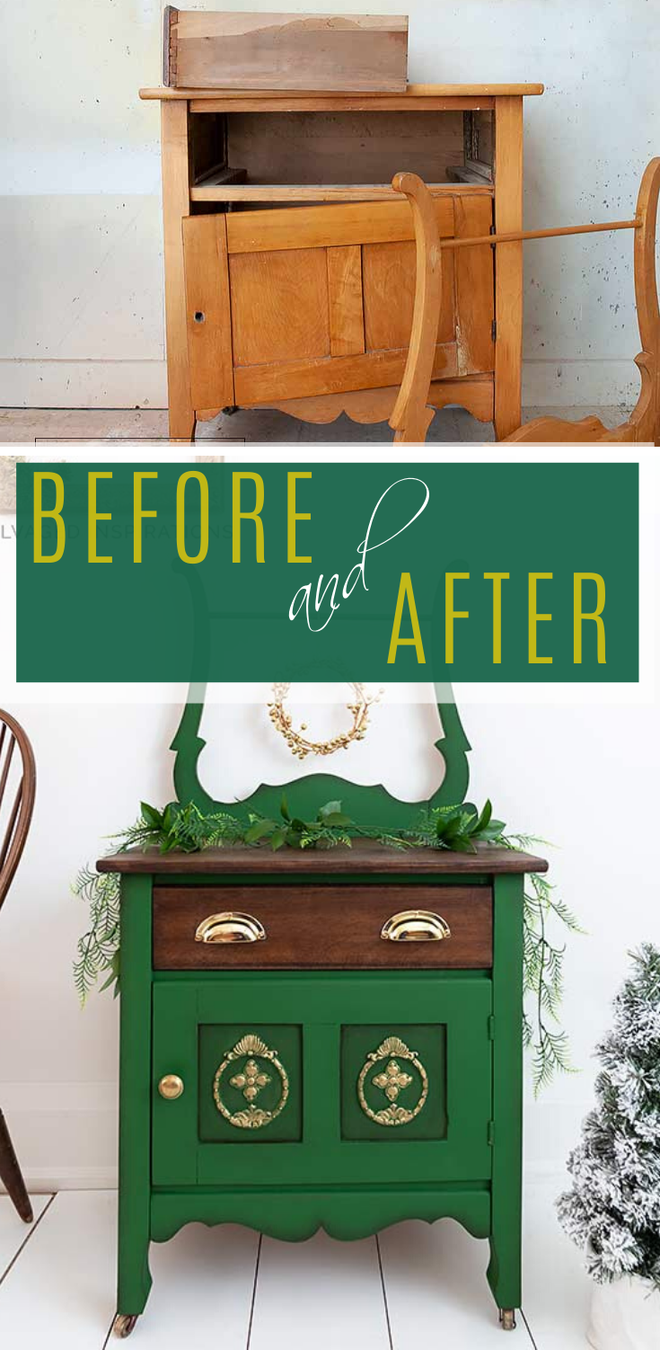 Before and After |Beautiful Washstand Makeover | Salvaged Inspirations  #siblog #salvagedinspirations #paintedfurniture #furniturepainting #DIYfurniture #furniturepaintingtutorials #howto #furnitureartist #furnitureflip #salvagedfurniture #furnituremakeover #beforeandafterfurnuture #paintedfurnituredieas #paintedfurniture #painteddresserideas #christmas #decor