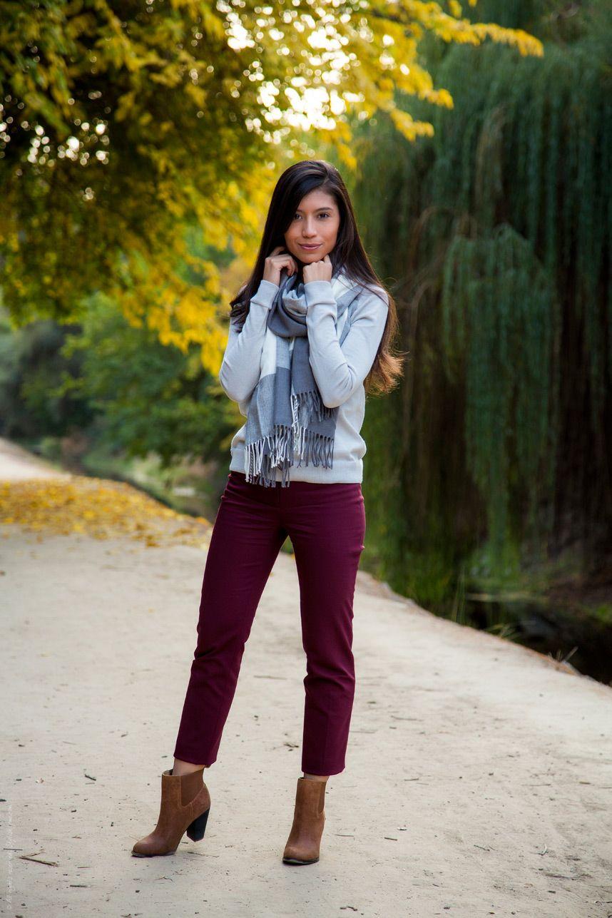 33d47b1eb9 Fall Gray Burgundy Outfit - Stylishlyme