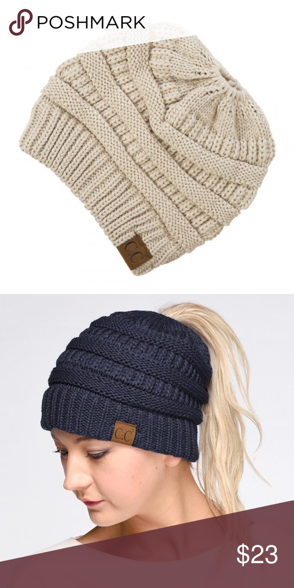 6dec6495 Beanie hat Messy-Bun/ponytail C.C. Beanie hat in beige. 100%acrylic. ⭐️NEW  IN PACKAGING ⭐️SHIPS SAME/NEXT DAY ⭐️10% DISCOUNT ON BUNDLES OF 3+ ⭐️FREE  ...