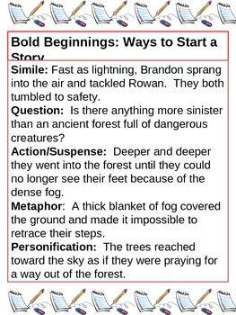 002 Ways to start a story Essay writing, Teaching writing