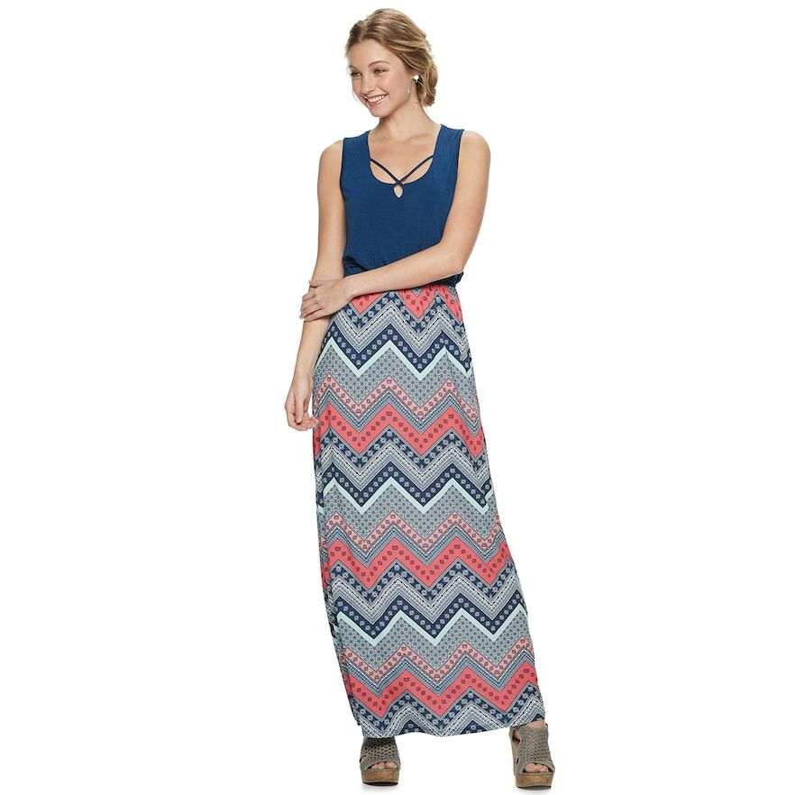 a9d63b3b837d Juniors' Three Pink Hearts Cross Front Maxi Dress, Teens, Size: XS, Brt Blue