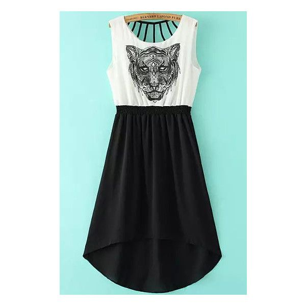 86d17c1270 Black White Sleeveless Tiger Print High Low Dress ( 22) ❤ liked on Polyvore