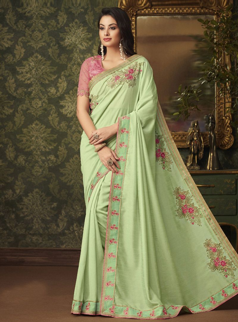 15d33f72ea62d0 Buy Light Green Silk Saree With Blouse 144913 with blouse online at lowest  price from vast collection of sarees at Indianclothstore.com.