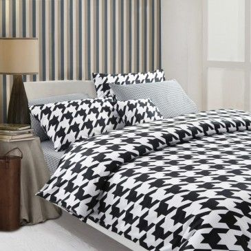 European Modern Gingham Bedding Set Luxury Black And White Duvet