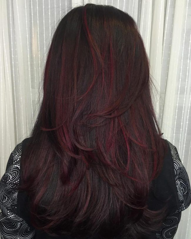 Dark Brown Hair With Magenta Highlights Dark Red Hair Color Dark Red Hair Brown Hair Colors