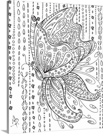 Rainy Day Butterfly Coloring Canvas Butterfly Coloring Page Graphic Art Print
