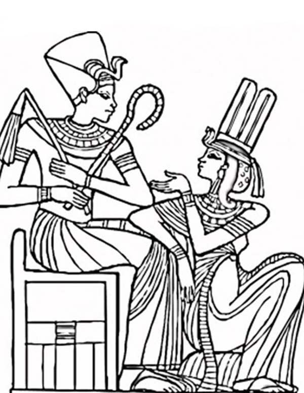An Ancient Egypt Pharaoh and His Queen Coloring Page