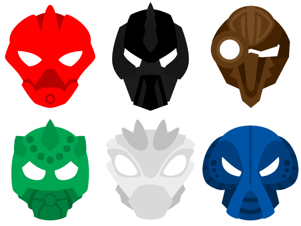 These are just my idea of what the masks of the Toa Inika would wear ...