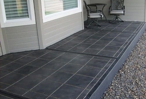 Grey Stained Painted Concrete Front Porch Floor