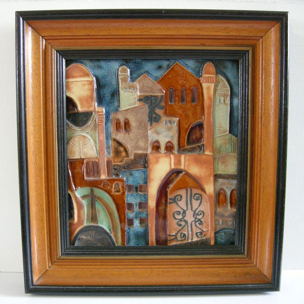 70 80s ruth faktor jerusalem old city framed ceramic tile signed vintage 70 80s ruth faktor jerusalem old city framed ceramic tile signed israel dailygadgetfo Images
