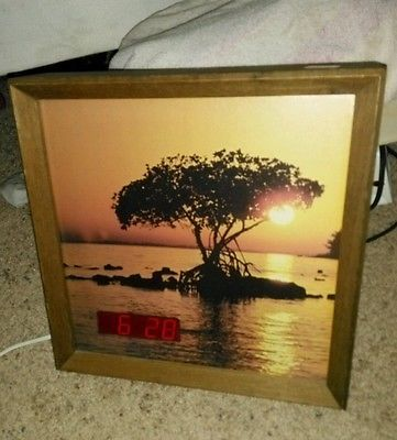 Vintage sexton #metalcraft 388x #clock digital led #sunset, tree, water 1960-1970,  View more on the LINK: 	http://www.zeppy.io/product/gb/2/111876054690/