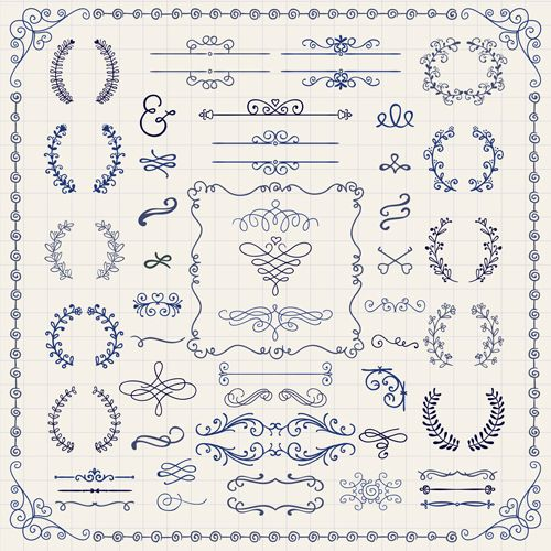 Vintage Hand Drawn Swirls Ornaments With Corner Vector 03 Vector Frames Borders Vector Label Vector Orna How To Draw Hands Doodle Designs Doodle Patterns