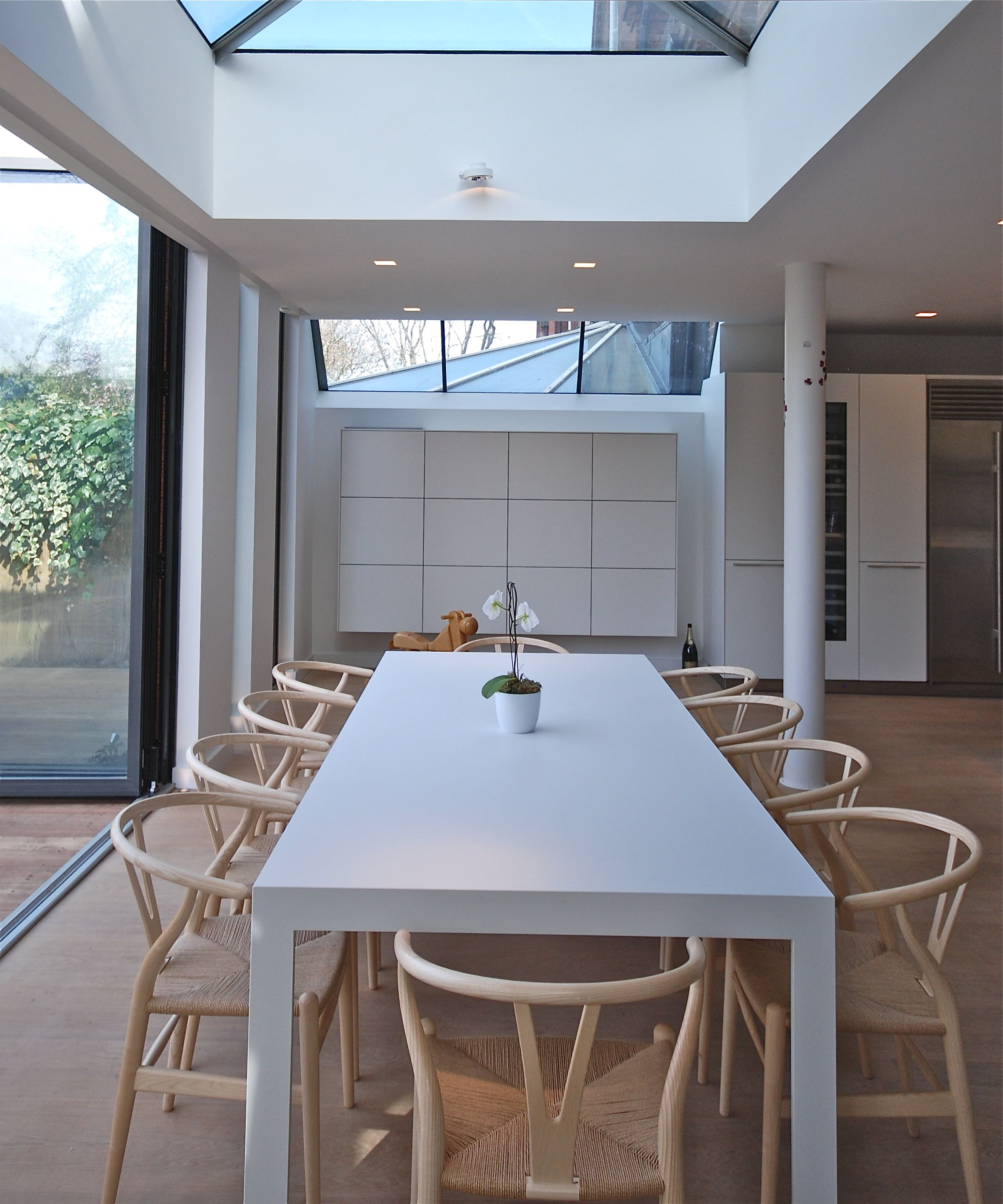 The architect s skylight over the white bulthaup table has be e