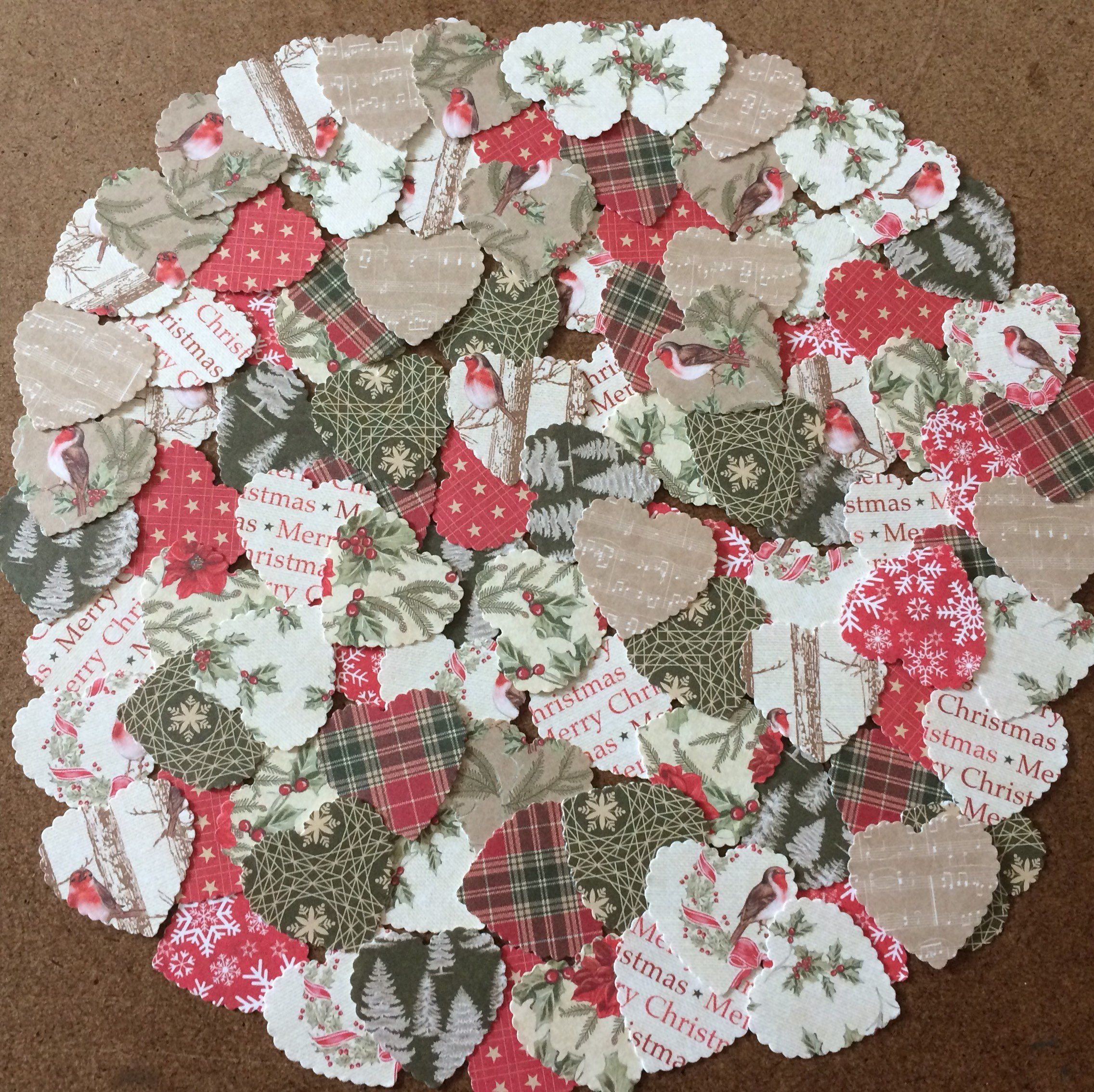 Christmas Toppers For Card Making.100 Heart Christmas Toppers Card Shapes Embellishment Card