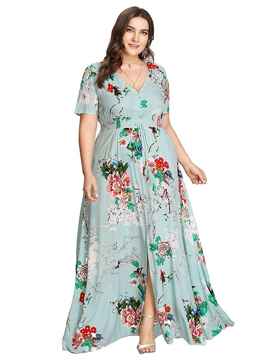 479e22ee916 Romwe Women s Plus Size Floral Print Buttons Short Sleeve V Neck Flare Flowy  Maxi Dress  fall dresses to wear to a wedding  formal dresses short   tanktop ...