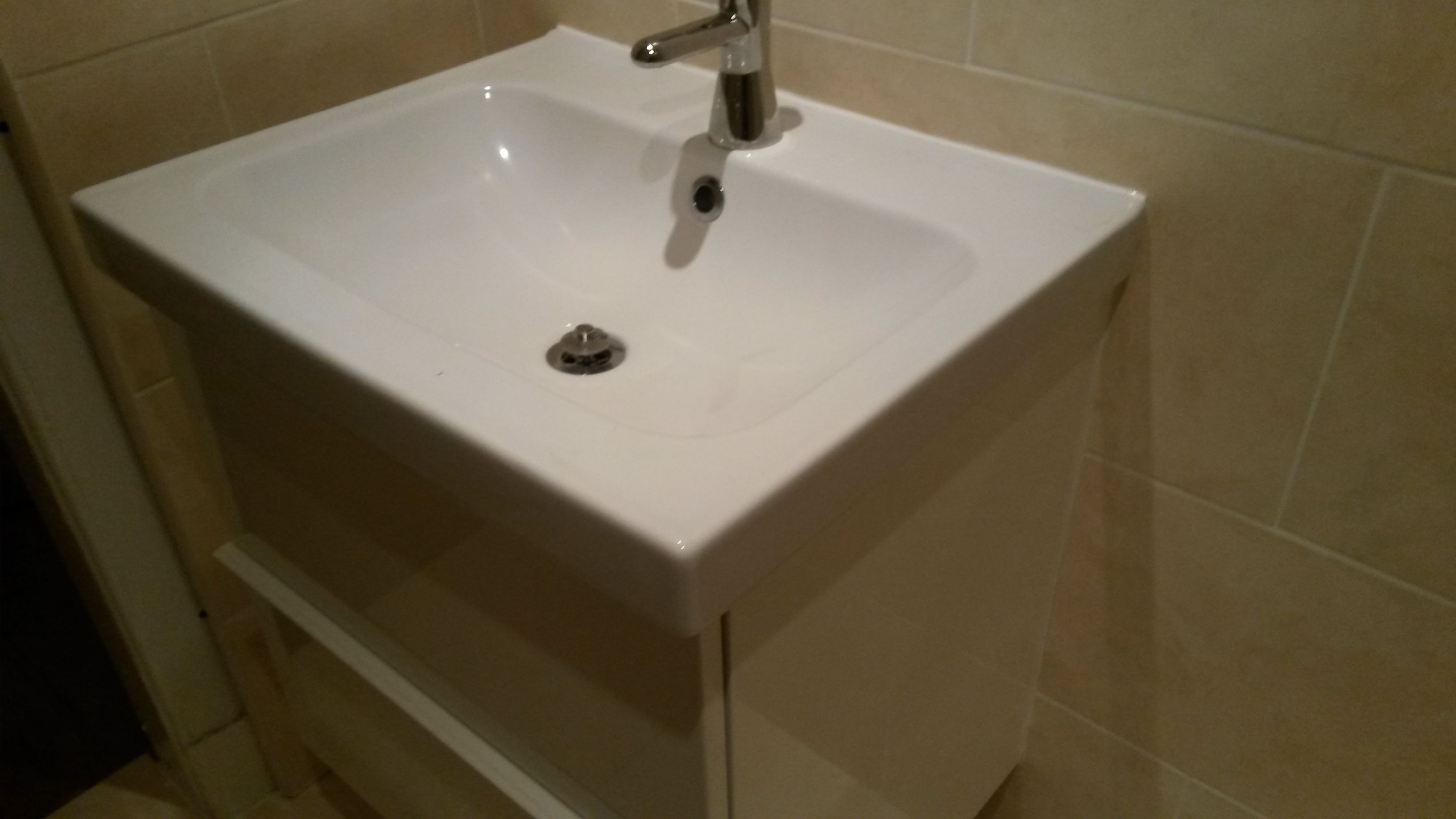 white gloss basin with drawer base Kitchen fittings