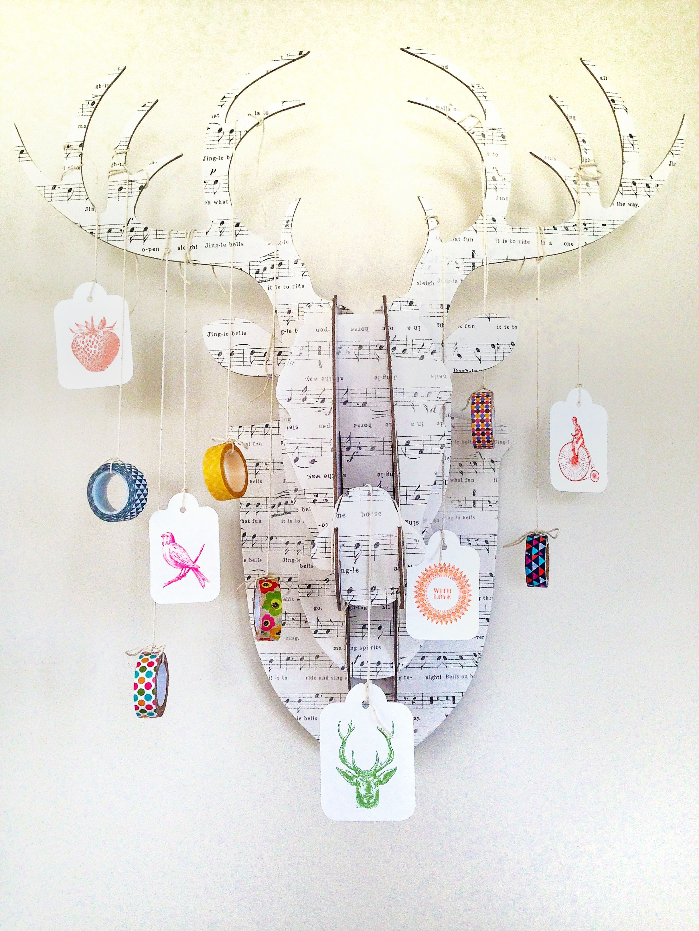 7 vignettes, dy 3.. Hanging, washi tape just handing around for fun,, deer, antlers