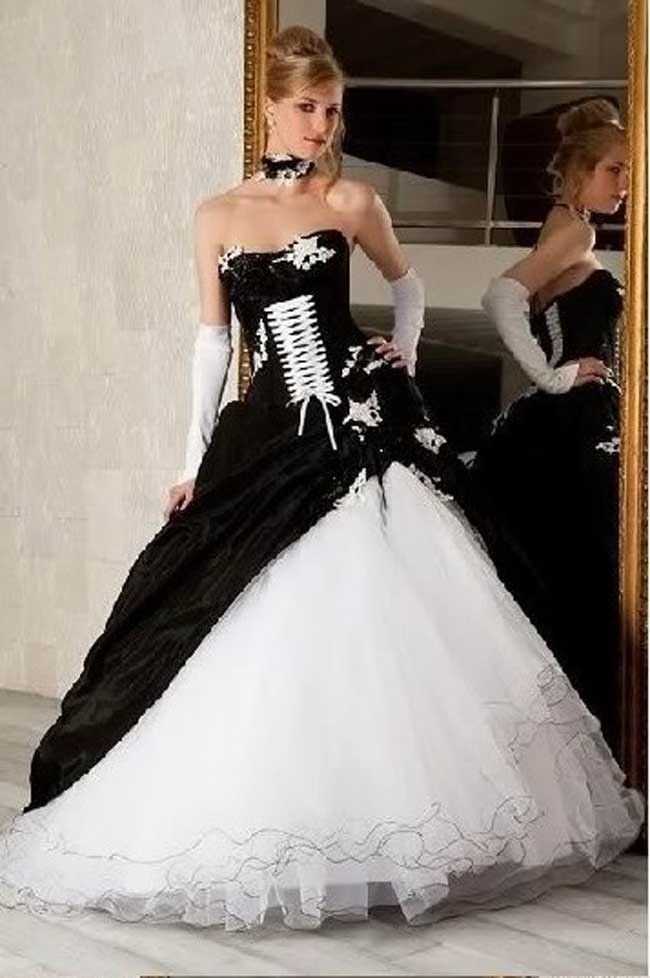 Impressive Luxury Black And White Wedding Dresses With Color