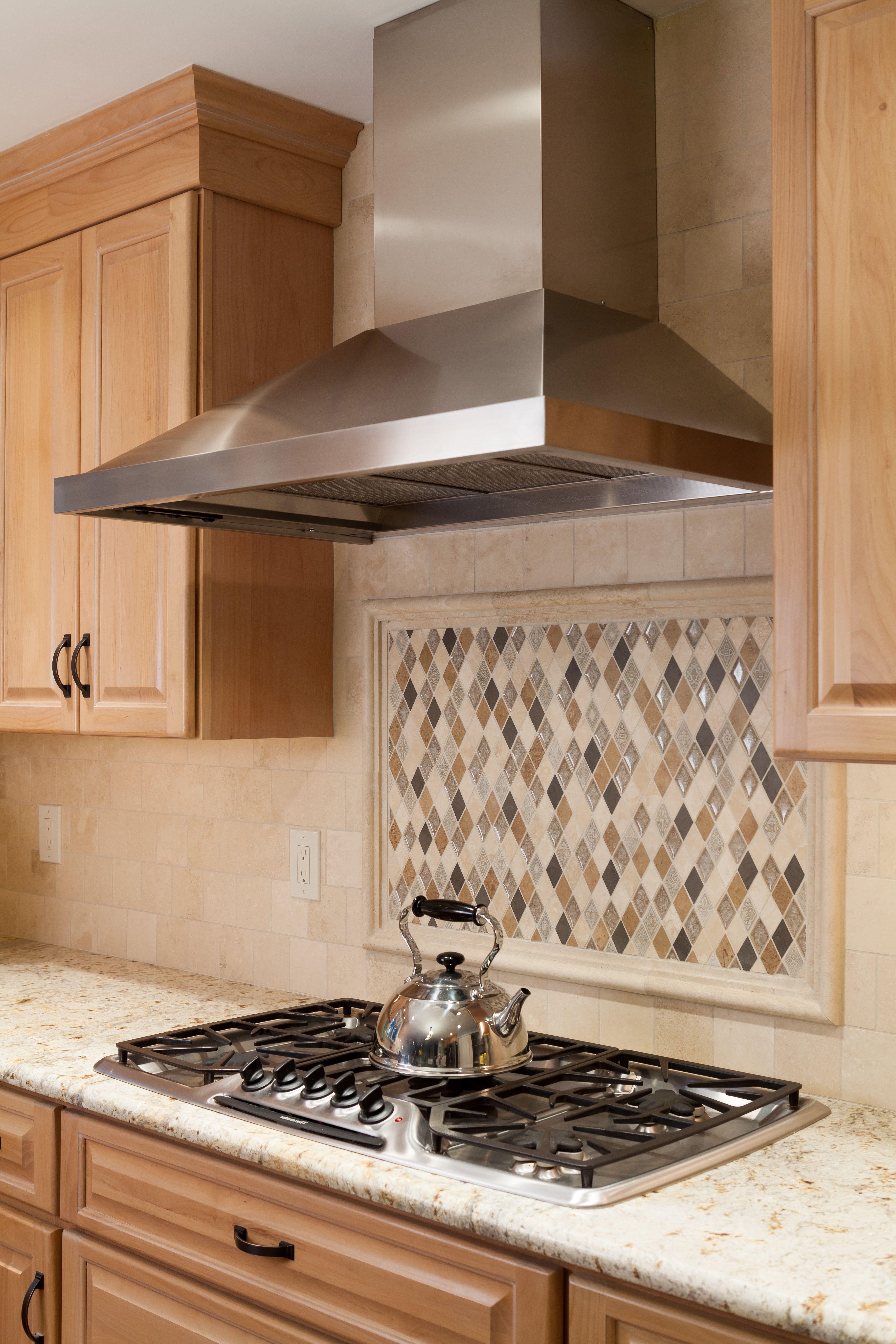 Kitchen with diamond shaped tile backsplash and stainless steel kitchen with diamond shaped tile backsplash and stainless steel range hood dailygadgetfo Choice Image