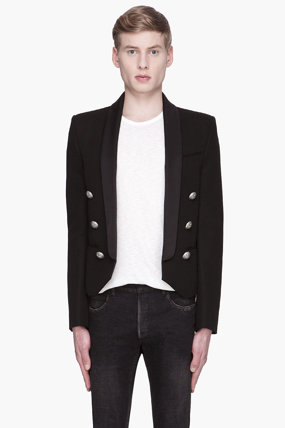 f0b783d2af BALMAIN Black shawl collar open Blazer | Another Style Perspective ...