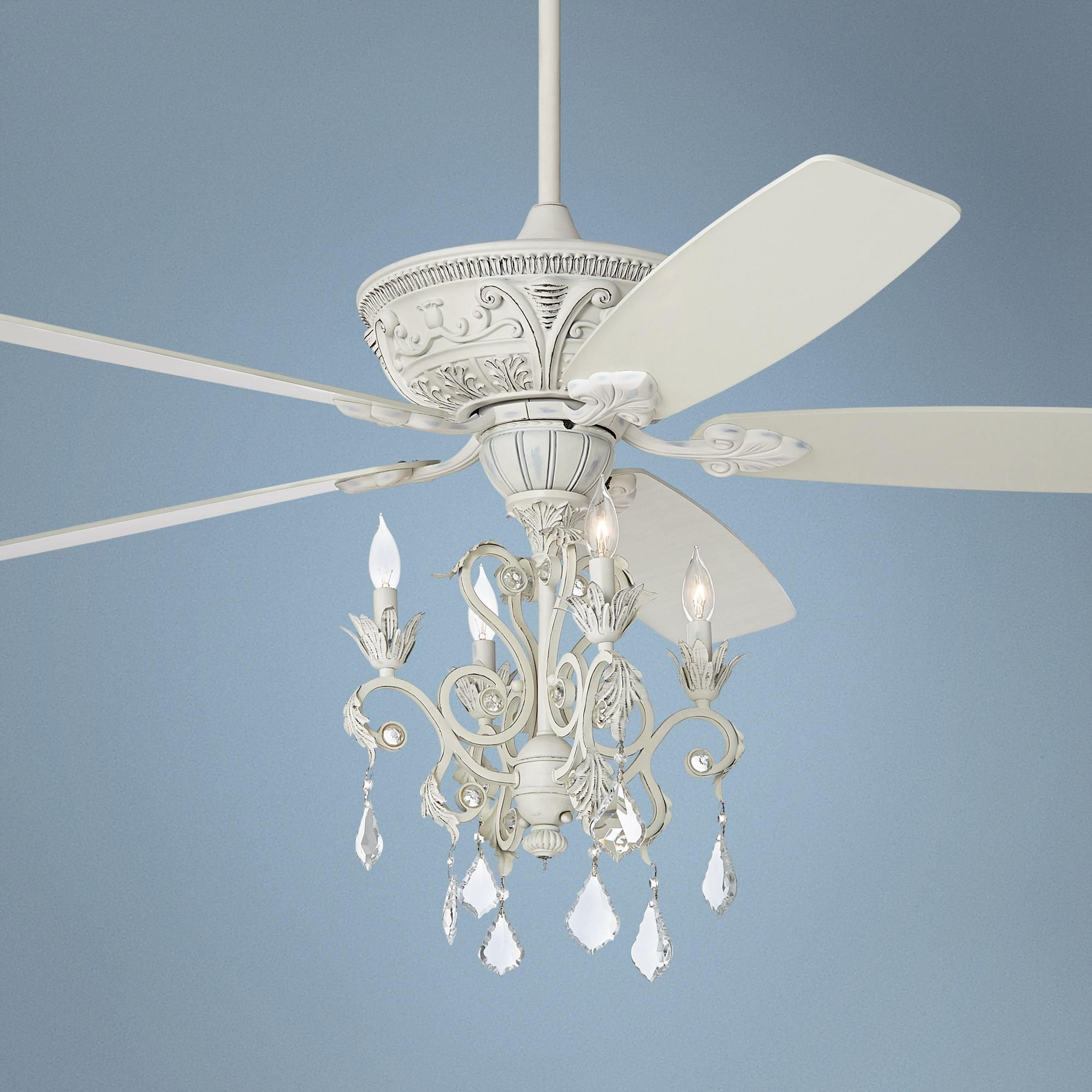 60 Casa Montego Rubbed White Chandelier Ceiling Fan