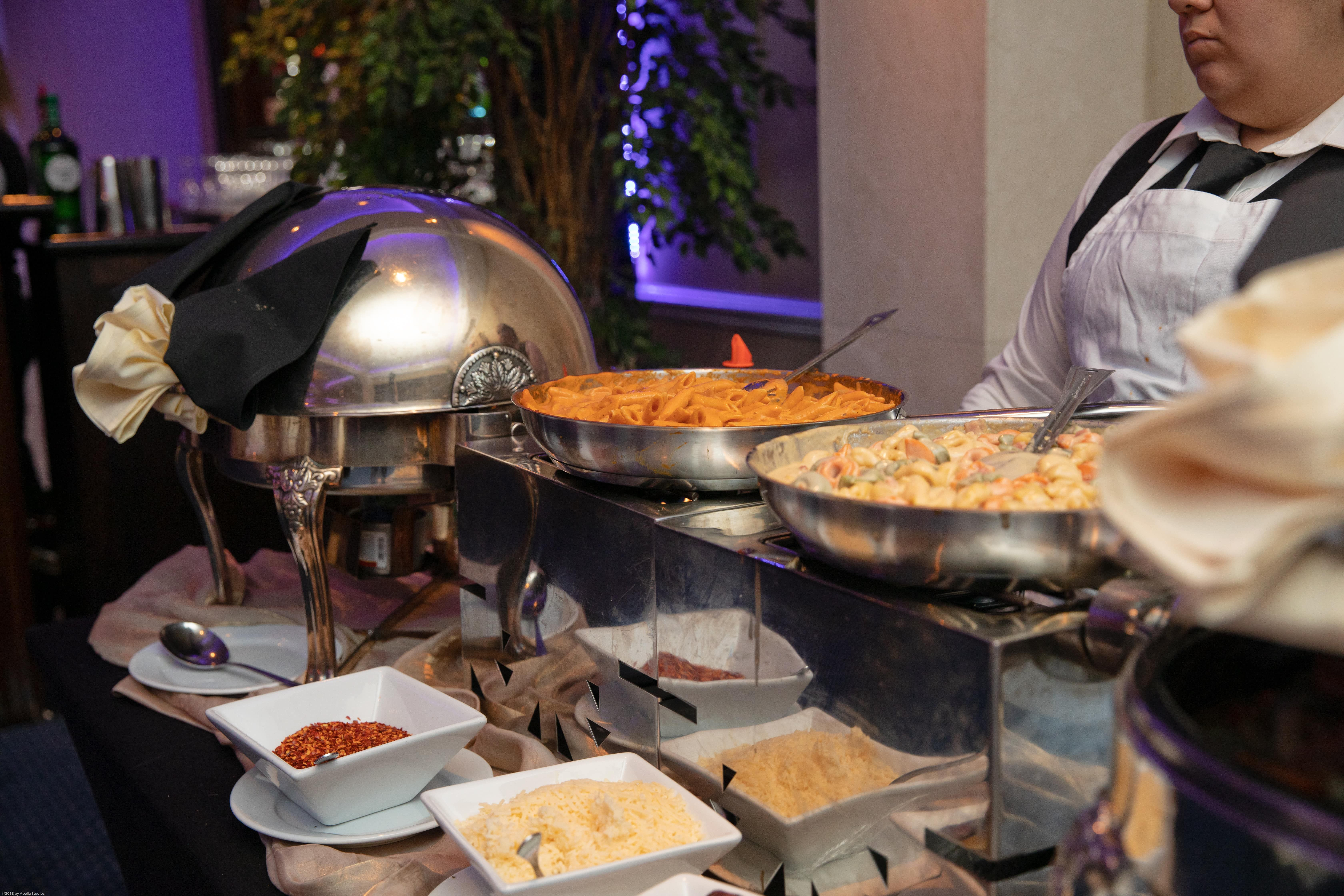 Pasta Station With All The Fixings Banquet Food Gourmet Wedding Cake Homemade Sauce