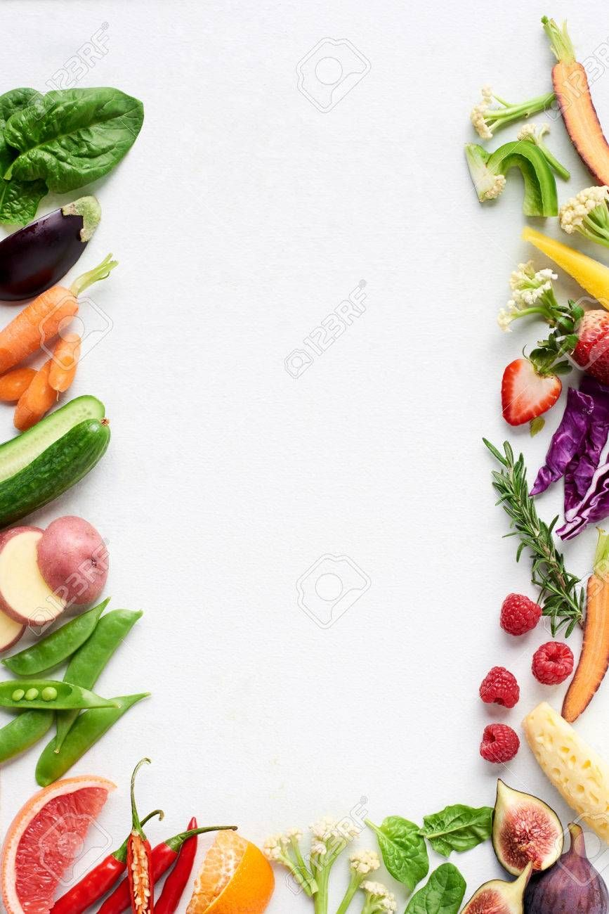 Food Background Border Flatlay Of Rainbow Coloured Fresh Fruits And Vegetables Carrot Chilli Cucumber Fresh Fruits And Vegetables Food Backgrounds Fresh Fruit