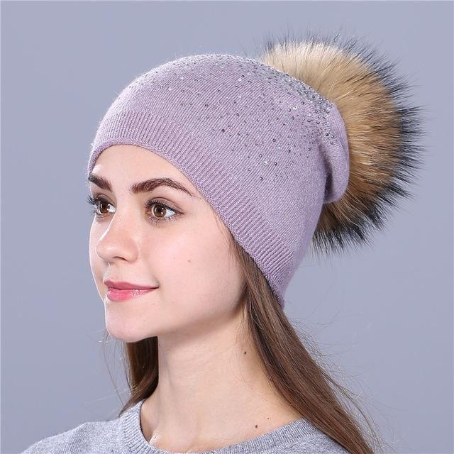 59d19562d15 Purple Relic  Women Winter Pom Pom Rhinestone Cap ~ Fur Wool Knitted Beanie
