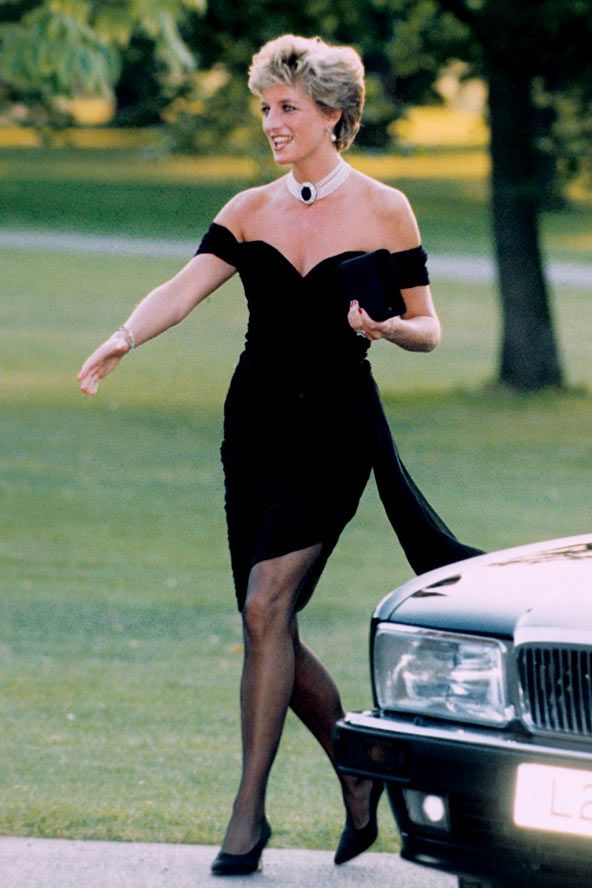 Diana, Princess of Wales, 1994, arriving for a party at London's Serpentine Gallery in a dress by Christina Stamboulian (dubbed the 'revenge dress'), on the night that Prince Charles publicly confessed to his affair with Camilla Parker Bowles.