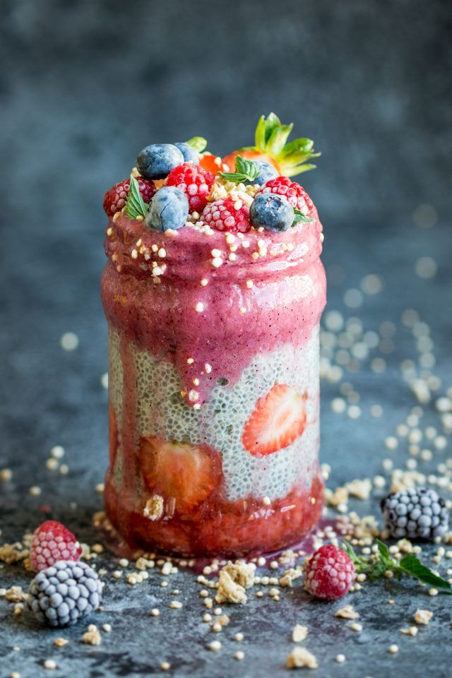 Berry Layered Chia Pudding. Chia seeds transform into a delicious pudding-like…