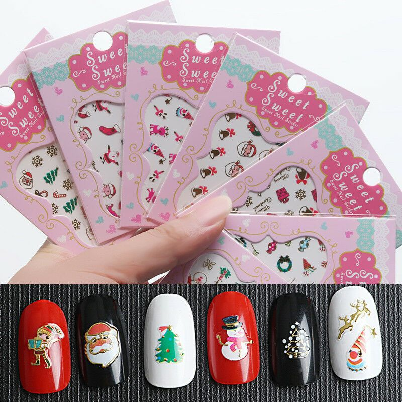 Details About Fashion 3d Christmas Nail Art Transfer Decals Nail