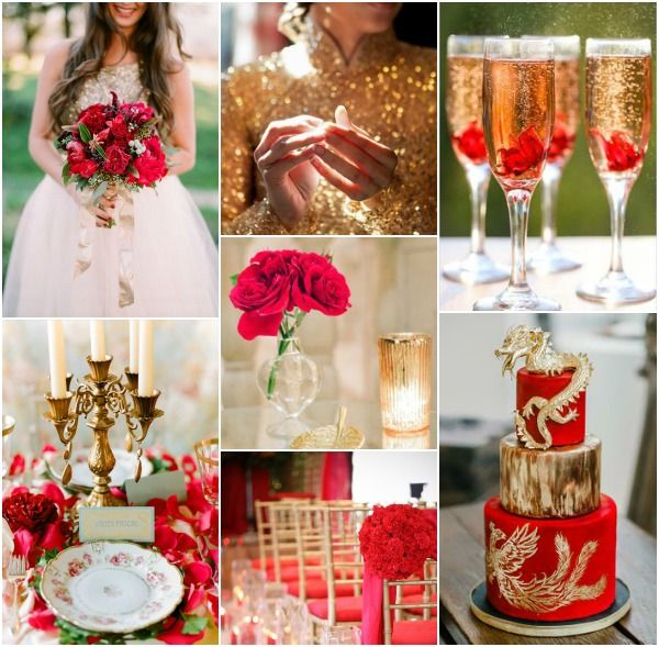 Red Wedding Ideas On A Budget: Red And Gold Wedding Inspiration Board