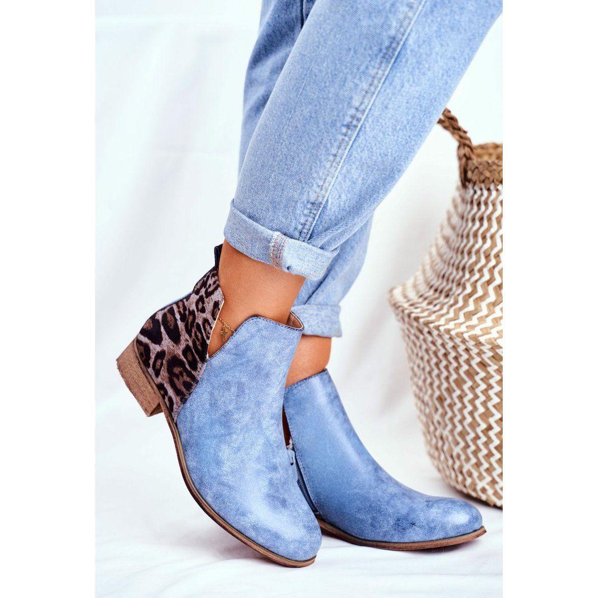 Eve Botki Damskie Plaski Obcas Wiosenne Niebieskie Viva Chelsea Boots Ankle Boot Shoes