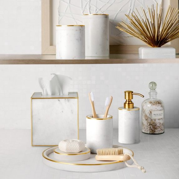 Photo of Marble and Brass Bath Canister