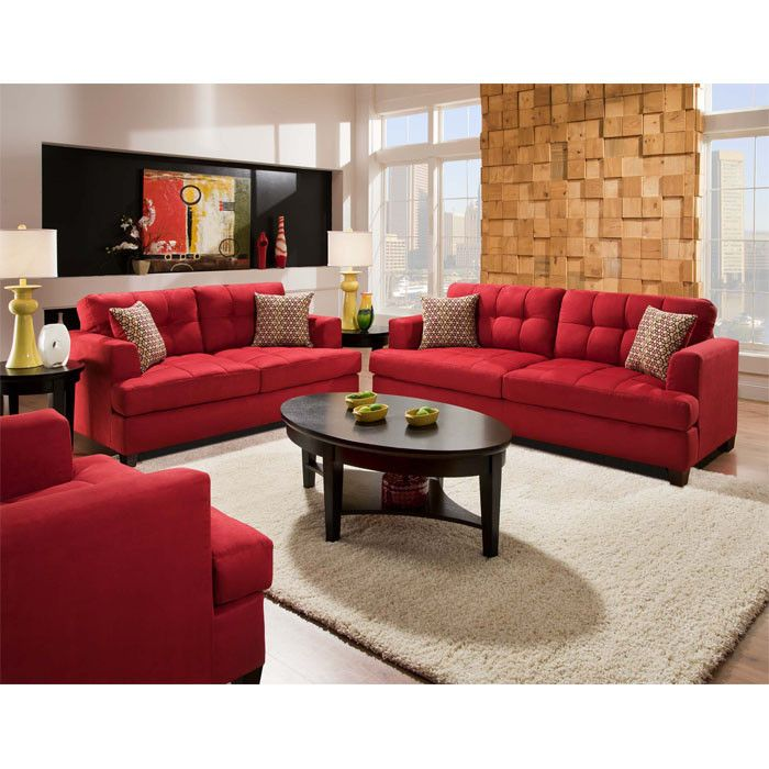 Couch Arrangement. Love The RED Couch!!