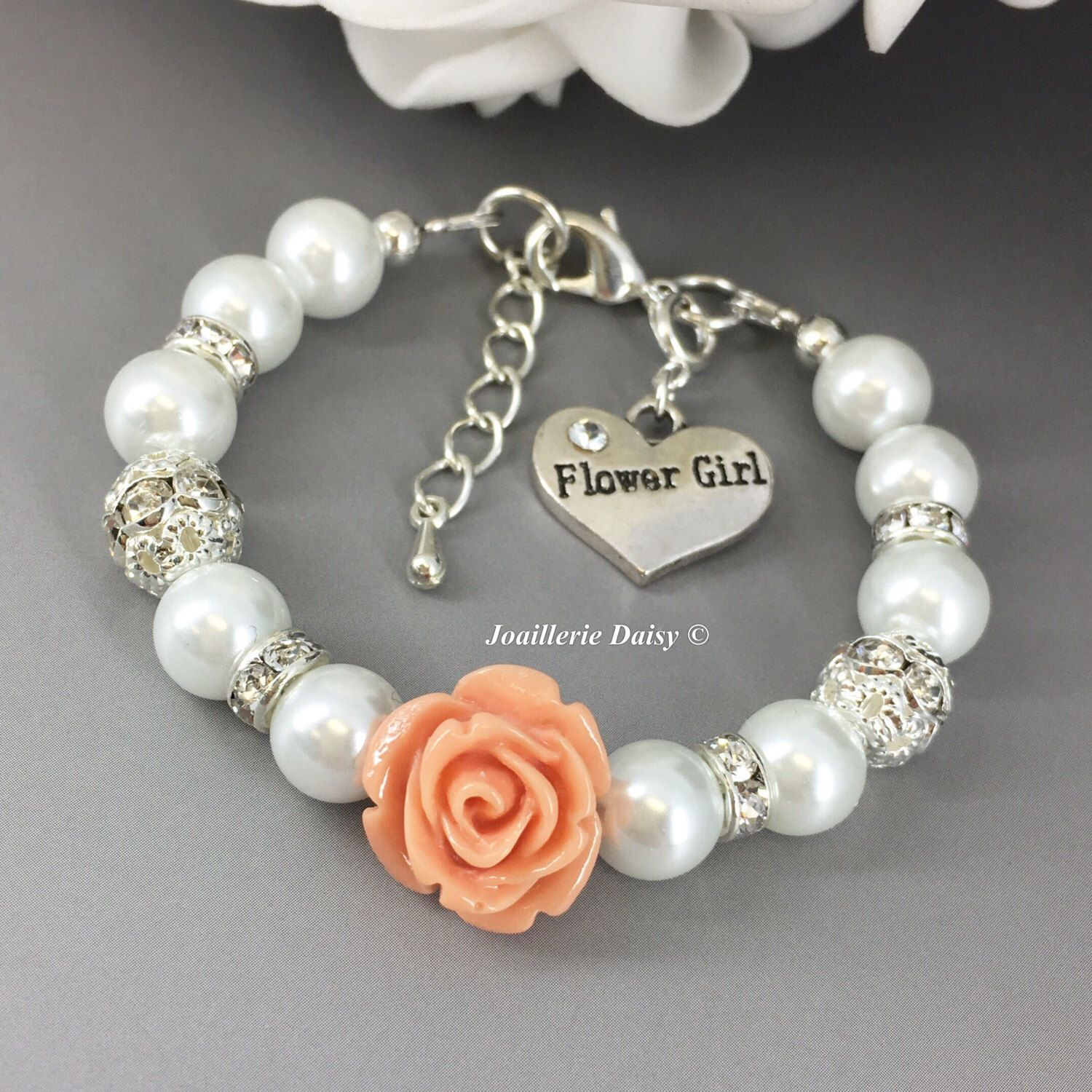 flowergirl personalised kids charm crystal bracelet img glass purple flower pearl white with product initial girl