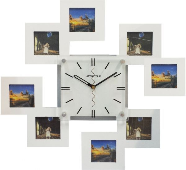 Wooden Wall Clock With 8 Photo Frames White Home Sweet Home