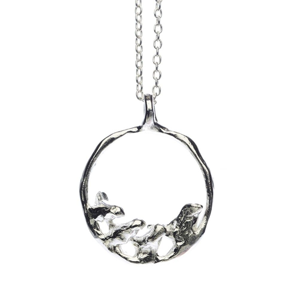Mother   Three Baby Birds Necklace: Recycled Sterling Silver