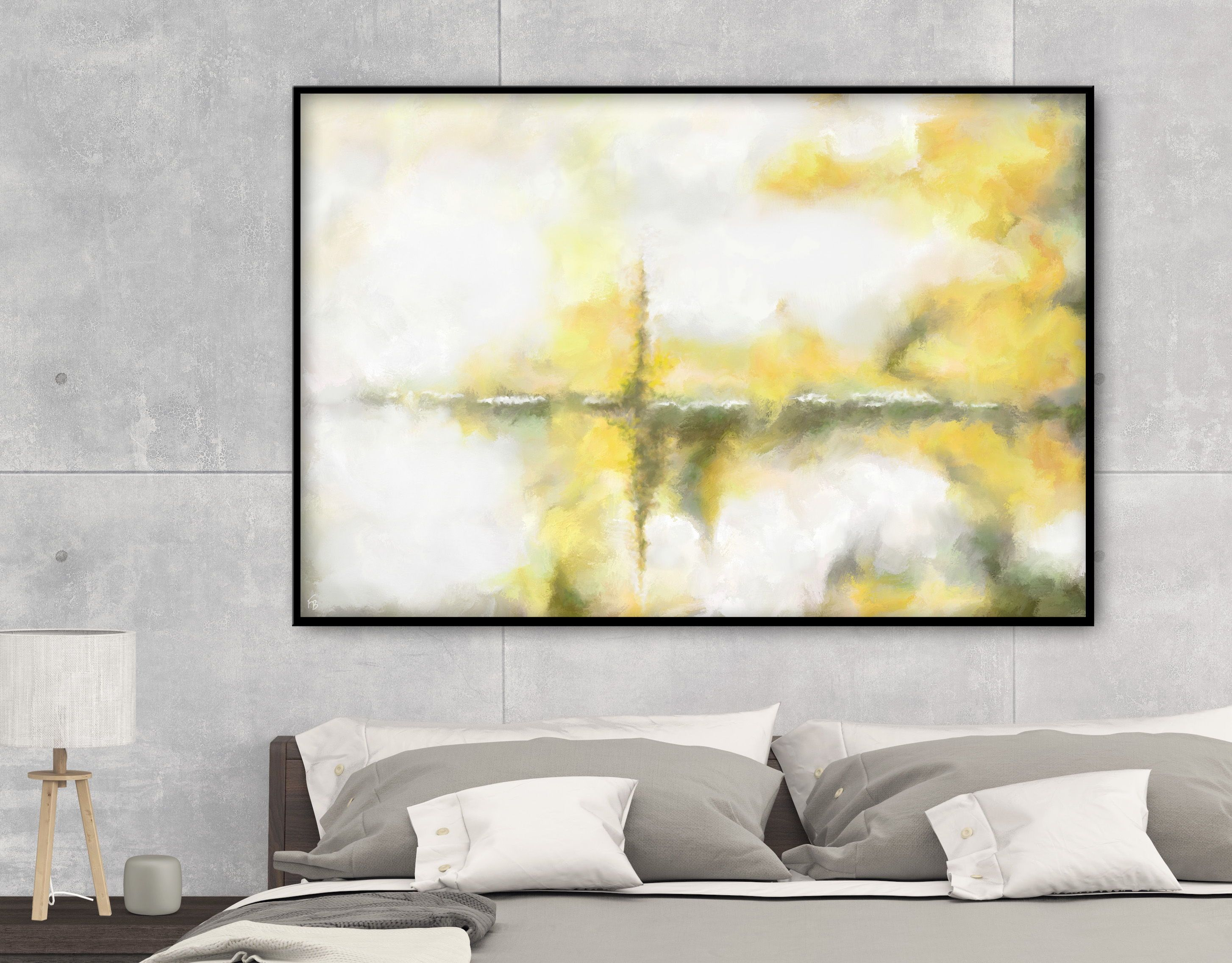 A cheerful mood for your art wall! Abstract yellow artwork by ...